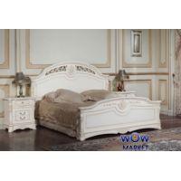 Кровать двуспальная Беатриче 8053 (белая с патиной) 180х200см Акорд