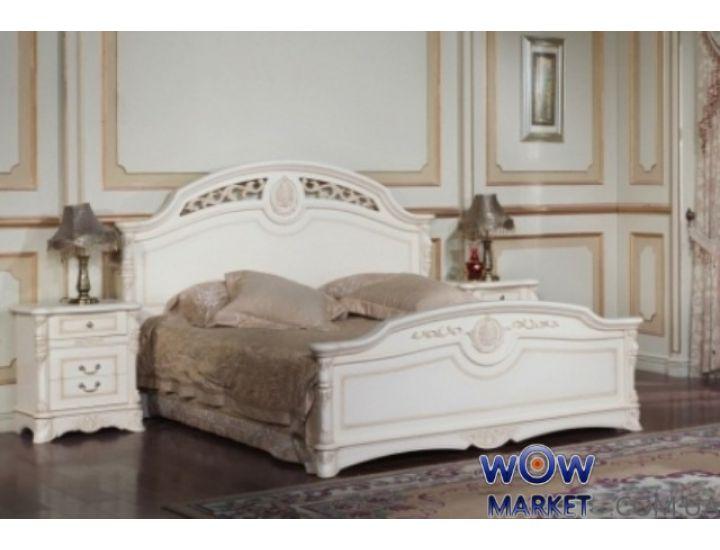 Кровать двуспальная Беатриче 8053 (белая с патиной) 160х200см Акорд