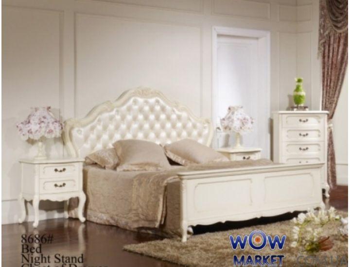 Кровать двуспальная Эпока 8686 (белая с патиной) 160х200см Акорд