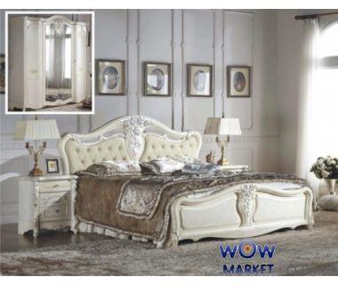 Кровать двуспальная CF 8673 160х200см белый Акорд