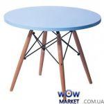 Стол обеденный круглый AC-078BW голубой 120*120*74,5см Ак