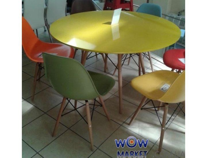 Стол обеденный круглый AC-078BW желтый 120*120*74,5см Ак