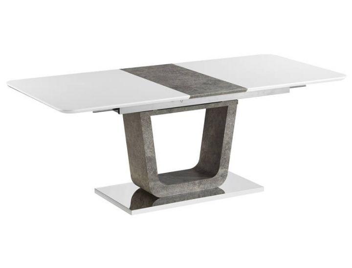 Раскладной обеденный стол Cube (Куб) бетон белый