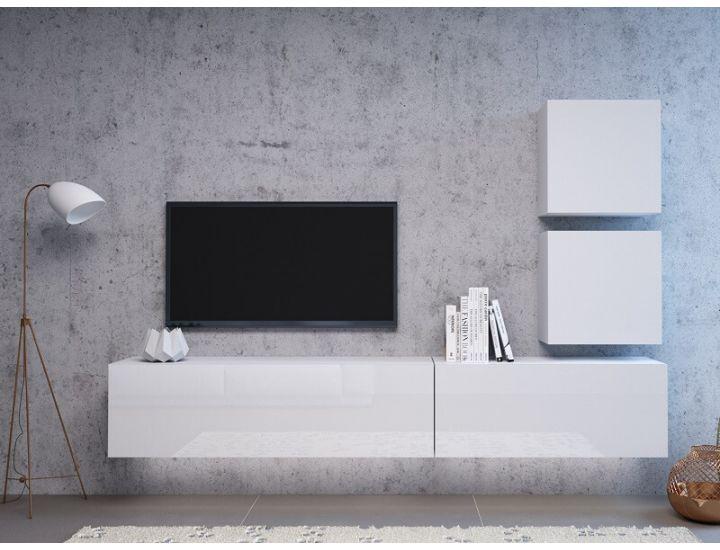 Стенка в гостиную Vivo белый глянец 3 с подстветкой