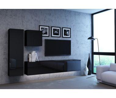 Стенка в гостиную Vivo черный глянец 4