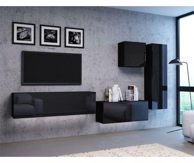 Стенка в гостиную Vivo черный глянец 5
