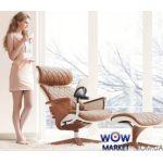 Кресло компьютерное Nuvem Lux эргономичное, белое основание светло-коричневая кожа C.S. Group