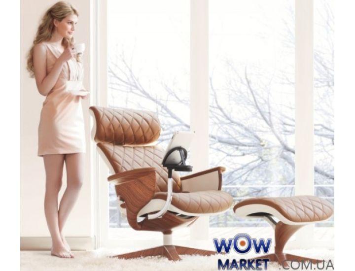 Эргономичное компьютерное кресло-реклайнер Nuvem Lux, белое основание светло-коричневая кожа C.S. Group
