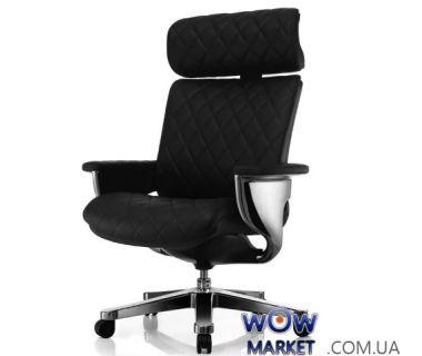 Кресло компьютерное Nuvem EP-HAL-BR эргономичное, черная кожа C.S. Group