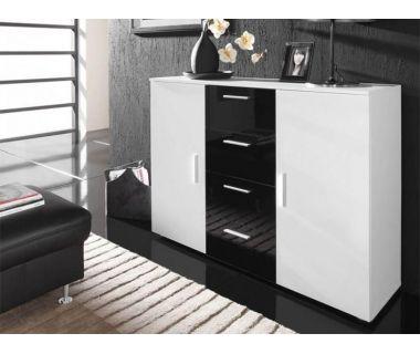 Комод UNI Cama 132 Белый Мат / Белый и Черный Глянец