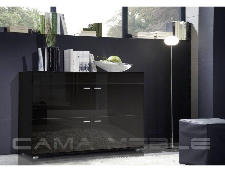 Комод LOGO II Cama 120/42 Черный Мат / Черный Глянец