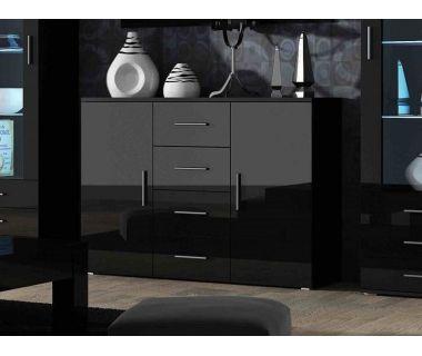 Комод UNI Cama 132 Черный Мат / Черный Глянец
