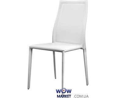 Кожаный стул Nicety (Найсети) c ножками в коже белый
