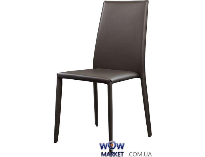 Кожаный стул Straight (Страйт) матово-серый