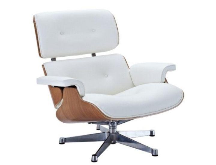 Дизайнерское лаунж кресло Eames lounge chair белое