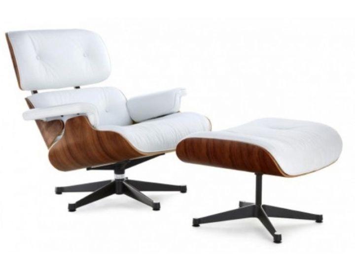Дизайнерское лаунж кресло Eames lounge chair с отоманкой белое