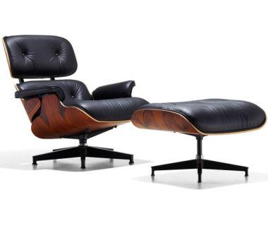 Кресло Eames lounge chair с отоманкой черное