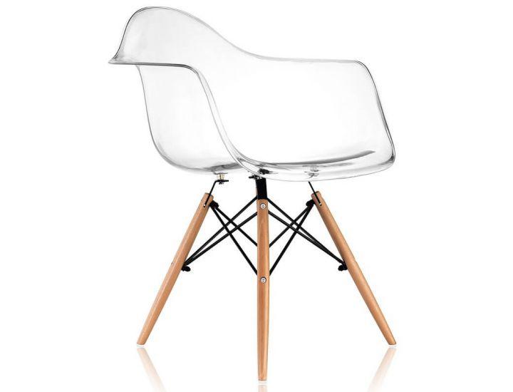 Кресло Eames DAW Chair прозрачное ножки деревянные