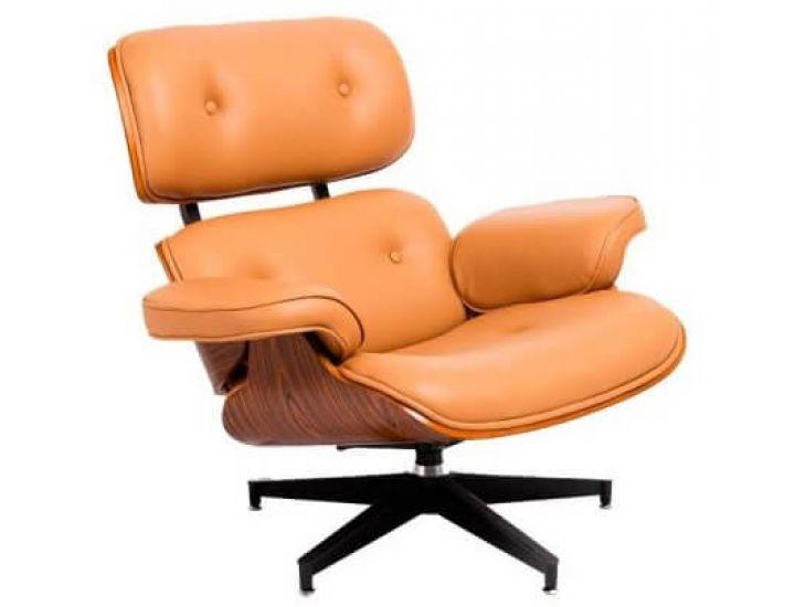 Дизайнерское лаунж кресло Eames lounge chair бежевое