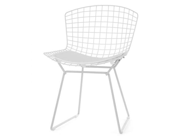 Стул Bertoia Chair белый с белой подушкой