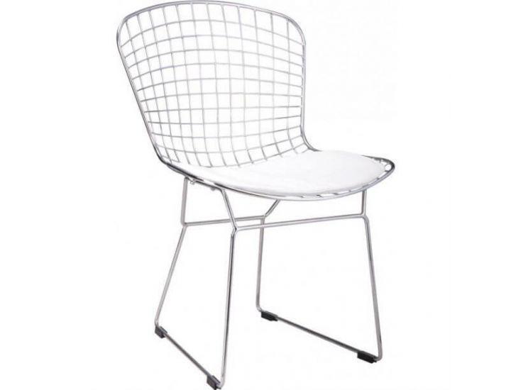 Стул Bertoia Chair хром с белой подушкой
