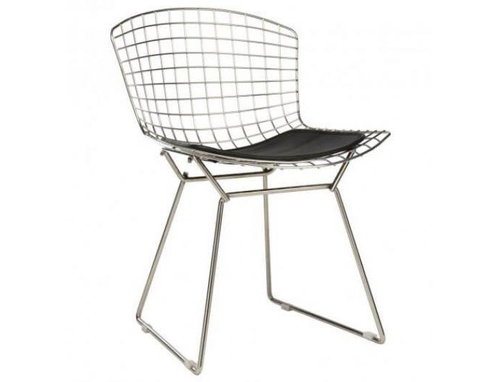 Стул Bertoia Chair хром с черной подушкой