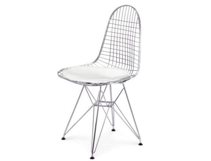 Стул Eames Металл хром с белой подушкой