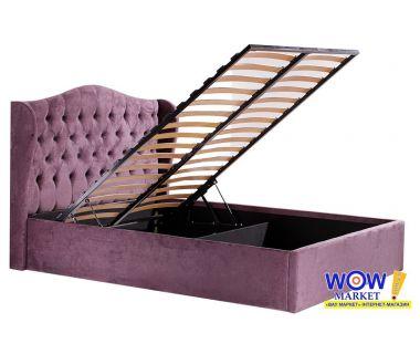 Кровать двуспальная Аливио с подьемным механизмом 160х200см (пепельно-сливовый) Domini (Домини)