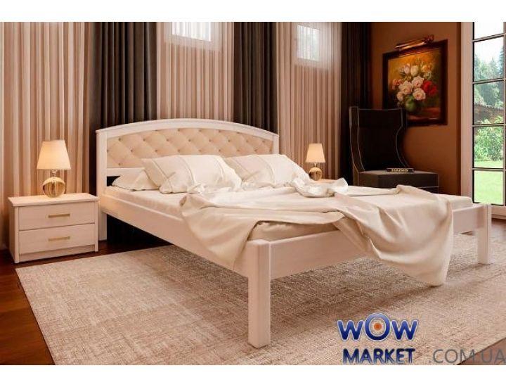 Кровать деревянная двуспальная Британия М с мягким изголовьем 180х200см ДревКомбинат