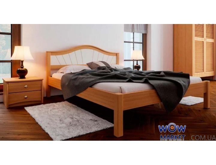 Кровать деревянная двуспальная Италия М с мягким изголовьем 160х200см ДревКомбинат