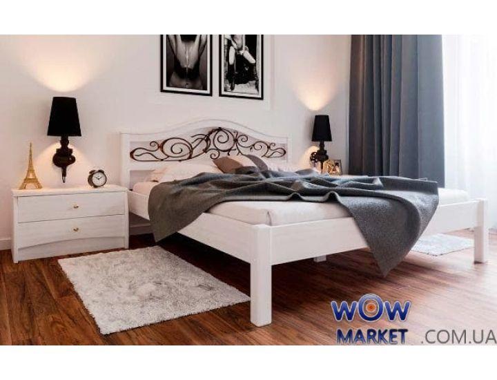 Кровать деревянная полуторная Италия К с ковкой 140х200см ДревКомбинат