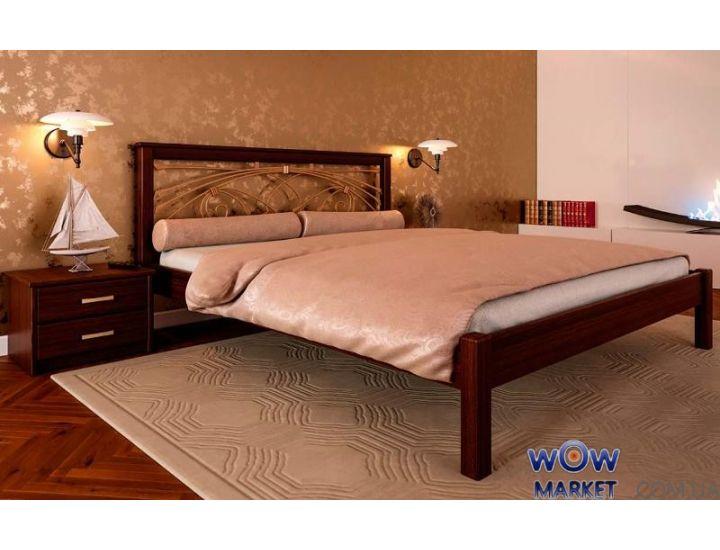 Кровать деревянная полуторная Модерн К с ковкой 140х200см ДревКомбинат