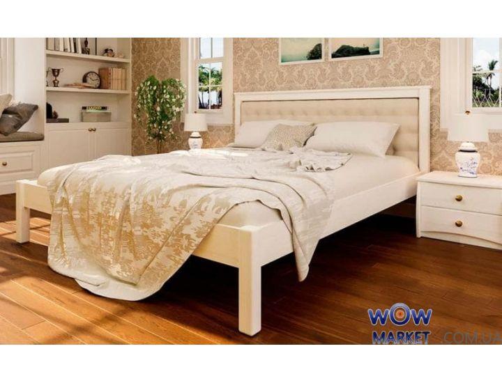 Кровать деревянная двуспальная Модерн М с мягким изголовьем 160х200см ДревКомбинат