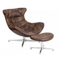 Кресло Мексика с оттоманкой, экокожа коричневая SDM (Групо СДМ)