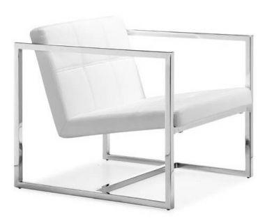 Кресло Нортон, мягкое, нержавеющая сталь, цвет белый SDM (Групо СДМ)