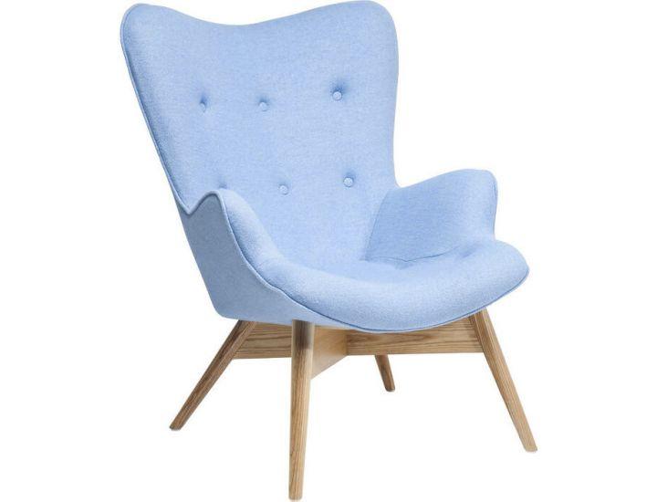 Дизайнерское кресло Флорино, мягкое, дерево бук, цвет голубой