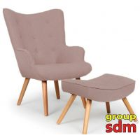 Кресло Флорино с табуреткой, оттоманкой, цвет коричневый