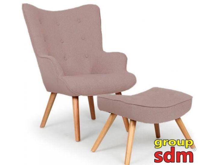 Дизайнерское кресло Флорино с табуреткой, оттоманкой, цвет коричневый