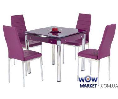 Стол раскладной Kent хром (Кент) фиолетовый Halmar (Халмар) Польша
