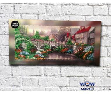Картина вышитая бисером Сказочная деревня от Пушки Натальи