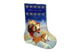 Новогодний сапожок вышитый бисером Ночь подарков от Пушки Натальи