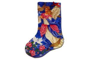 Новогодний сапожок вышитый бисером Новогодний ангел-хранитель от Пушки Натальи