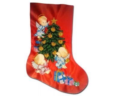 Новогодний сапожок вышитый бисером Украшение елки от Пушки Натальи