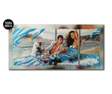 Картина вышитая бисером Свидание на берегу от Пушки Натальи