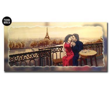 Картина вышитая бисером Влюбленные в Париже от Пушки Натальи