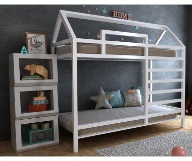Детская двухъярусная кровать домик Джина