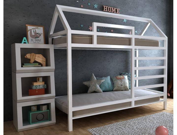 Детская деревянная двухъярусная кровать домик Джина
