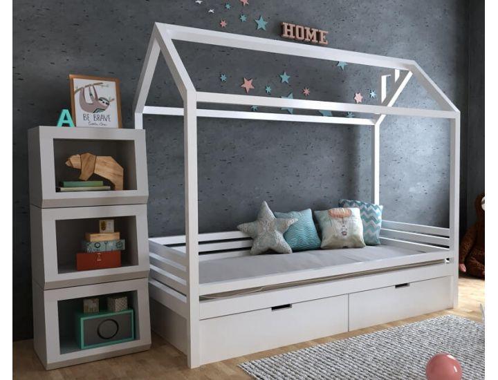 Детская деревянная кровать домик Китти с ящиками