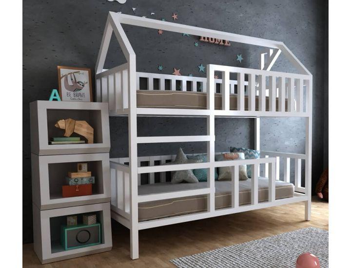 Детская деревянная двухъярусная кровать домик Молли