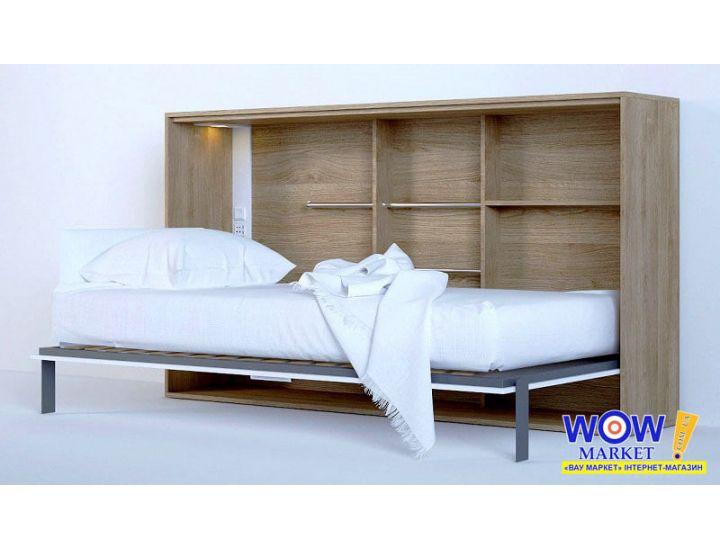 Шкаф кровать трансформер односпальная горизонтальная со столом ШКГ-1с